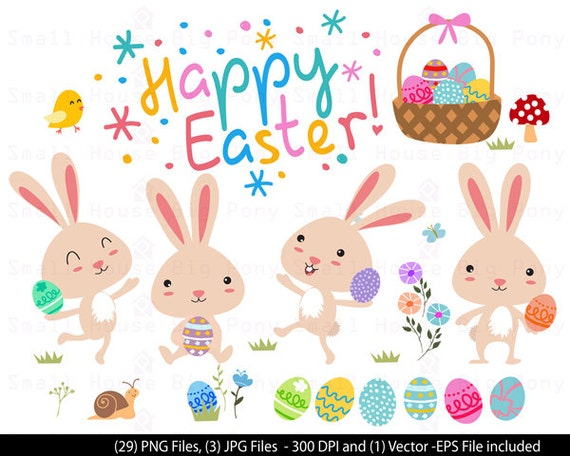 Bunny Cute Digital Clipart - Cute Easter Clipart, Baby Bunny Rabbit, Easter Clipart, Easter Clip art, Clip Art