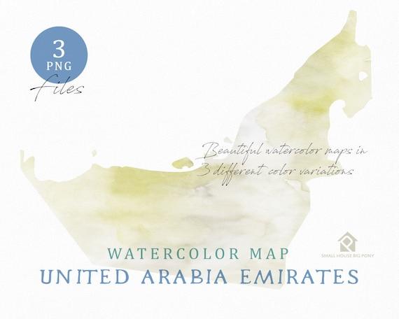 United Arabia Emirates  Map, Watercolor Map, Digital Map, Map Clipart, Wall Art, Color Map Clip Art, Custom Map, Watercolor Map