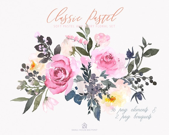 Watercolour Flower Clip Art Collection - Hand Painted Graphics,   hand drawn,  flower clip art - Classic Pastel Elements & 2 Bouquets