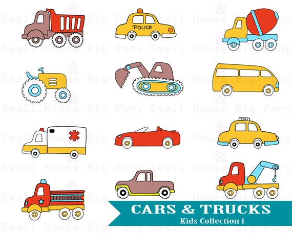 Cars & Trucks Clip art, Clipart , Kids Clip art, Boy's room Clipart, Clip art Cars and Trucks, Digital Clip art, cars and trucks, boys room