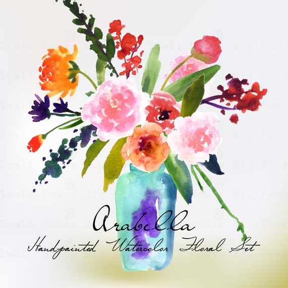 Watercolour Floral Clipart. Handmade, watercolour clipart, wedding diy elements, flowers - Arabella