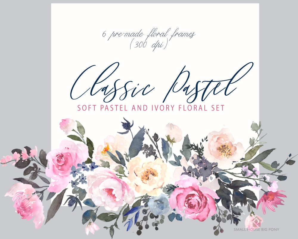 Digital Clipart Watercolor Flower Clipart Roses Clip Art Wedding