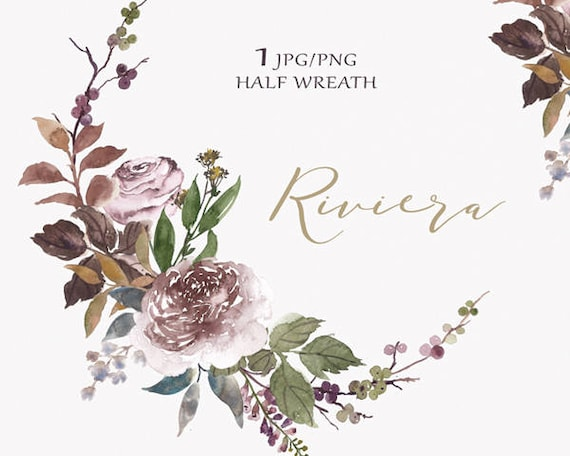 Digital Clipart- Watercolor Flower Clipart, peonies Clip art, Floral Bouquet Clipart, wedding flowers clip art- Riviera Half Wreath