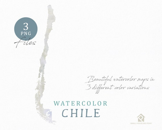 Chile Map, Watercolor Map, Instant Download, Digital Map, Map Clipart, Wall Art, Color Map Clip Art, Custom Map, Watercolor Map
