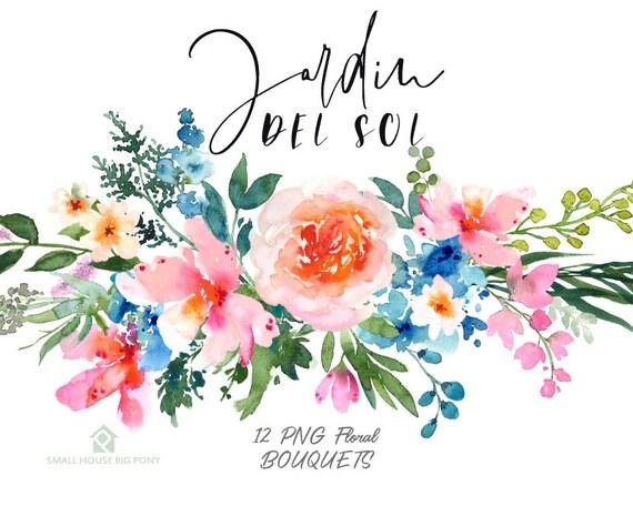 Watercolour Floral Clipart. Handmade, watercolour clipart, wedding diy elements, flowers - Jardin Del Sol Bouquets