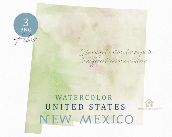 New Mexico Map, Watercolor Map, Digital Map, Map Clipart, Wall Art, Color Map Clip Art, Custom Map, Watercolor Map