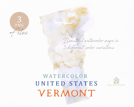 Vermont Map, Watercolor Map, Digital Map, Map Clipart, Wall Art, Color Map Clip Art, Custom Map, Watercolor Map