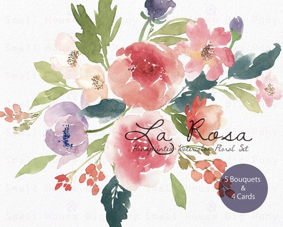 Watercolour Floral Clipart. Handmade, watercolour clipart, wedding diy elements, flowers - La Rosa Bouquets