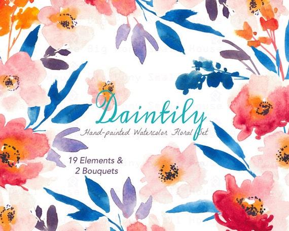 Digital Clipart- Watercolor Flower Clipart, peonies Clip art, Floral Bouquet Clipart, wedding flowers clip art- Daintily