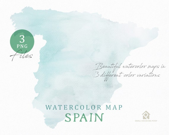 Spain Map, Watercolor Map, Instant Download, Digital Map, Map Clipart, Wall Art, Color Map Clip Art, Custom Map, Watercolor Map