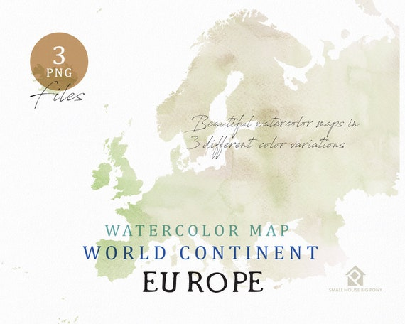 Europe - Continent Map, Watercolor Map, Digital Map, Map Clipart, Wall Art, Color Map Clip Art, Custom Map, Watercolor Map