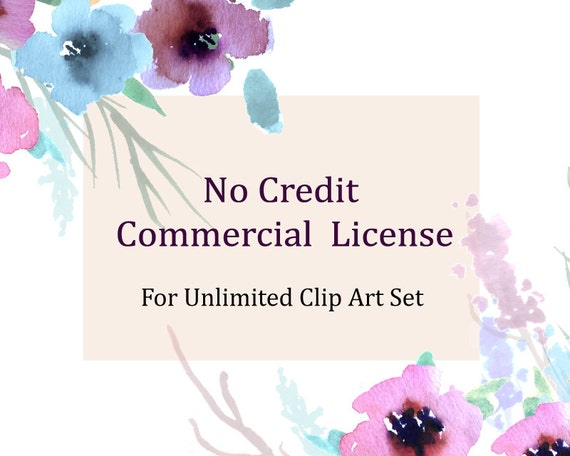 No Credit Commercial License For Unlimited Clip Art Set for small business
