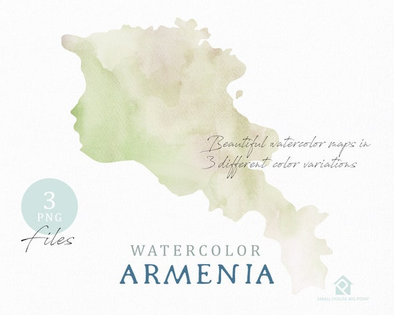 Armenia Map, Watercolor World Map, Instant Download, Digital Map, Map Clipart, Wall Art, Color Map Clip Art, Custom Map, Watercolor Map