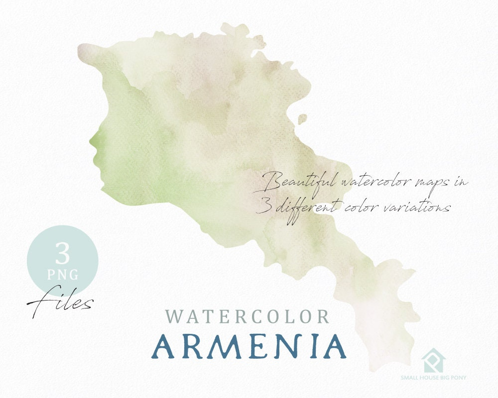 Armenia Map Watercolor World Map Instant Download Digital Map