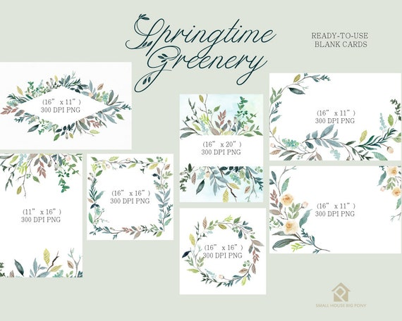 Digital Clipart- Watercolor leaves  Clipart, wreath Clip art, leaf Clipart, wedding diy clip art- Springtime Greenery Cards