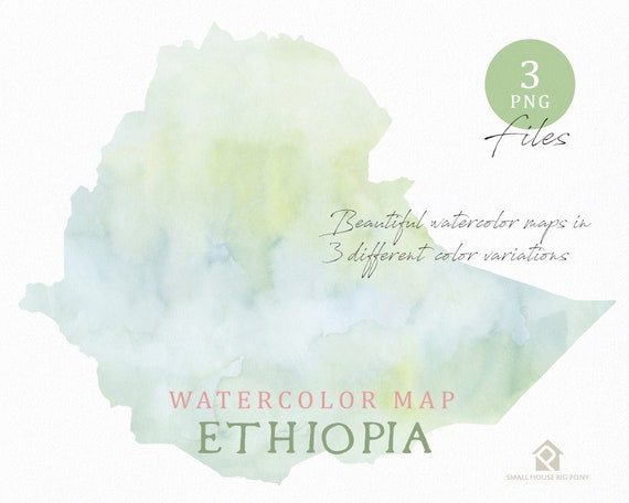Ethiopia Map, Watercolor Map, Instant Download, Digital Map, Map Clipart, Wall Art, Color Map Clip Art, Custom Map, Watercolor Map
