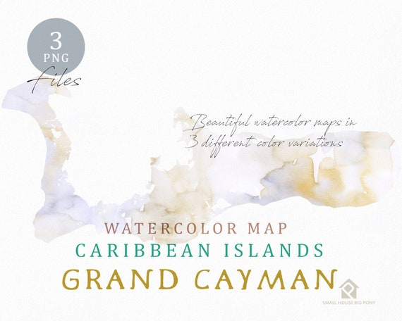 Grand Cayman Map, Watercolor Map, Instant Download, Digital Map, Map Clipart, Wall Art, Color Map Clip Art, Custom Map, Watercolor Map