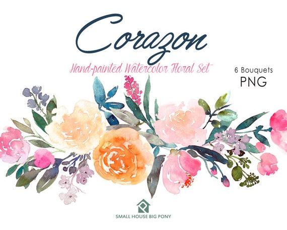Digital Clipart- Watercolor Flower Clipart, peonies Clip art, Floral Bouquet Clipart, wedding flowers clip art- Corazon 6 Bouquets