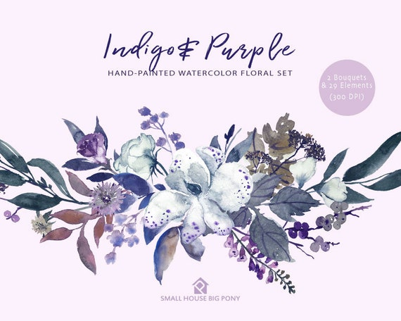 Digital Clipart- Watercolor Flower Clipart, peonies Clip art, wedding flowers clip art- Indigo & Purple Floral Elements and 2 Bouquets