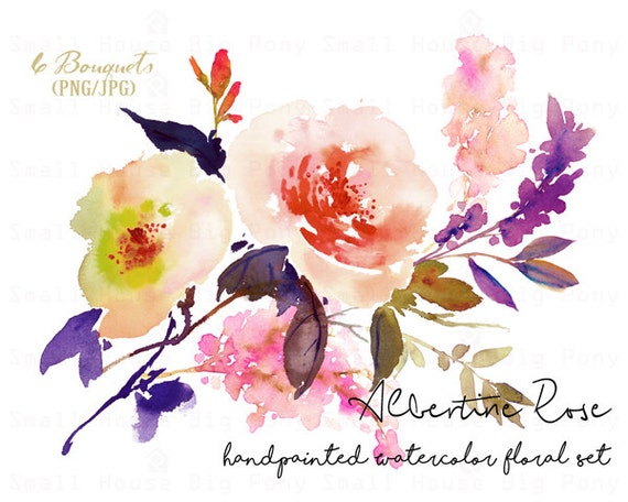 Digital Clipart- Watercolor Flower Clipart, rose Clip art, Floral Bouquet Clipart, wedding flowers clip art- Albertine Rose Bouquets