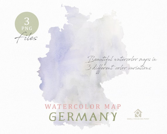 Germany map, Watercolor Map, Instant Download, Digital Map, Map Clipart, Wall Art, Color Map Clip Art, Custom Map, Watercolor Map