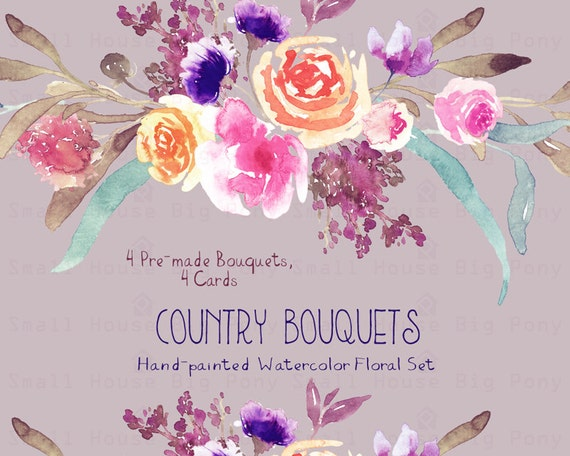 Watercolour Floral Clipart. Handmade, watercolour clipart, wedding diy elements, flowers - Country Bouquets