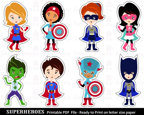 Superhero Clip art, Clipart ,  Printable Cut-Outs, Superhero Clipart, Super Hero Clipart, Hero Clipart- Instant download printable pdf
