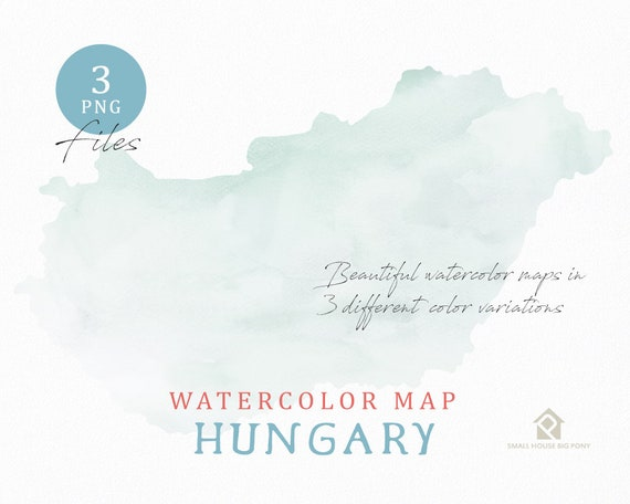 Hungary Map, Watercolor Map, Instant Download, Digital Map, Map Clipart, Wall Art, Color Map Clip Art, Custom Map, Watercolor Map