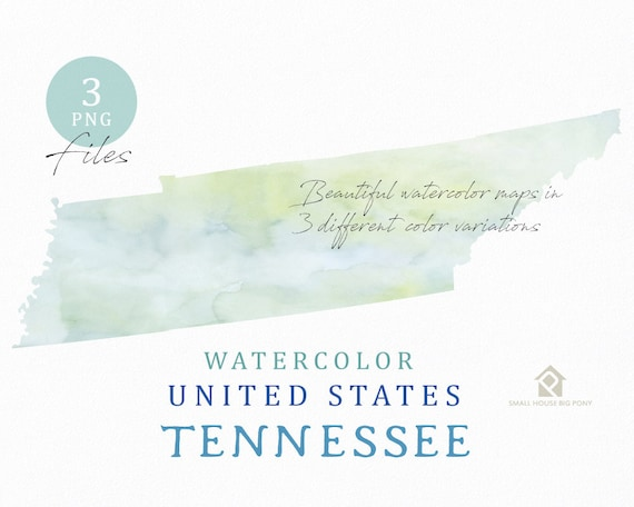 Tennessee Map, Watercolor Map, Digital Map, Map Clipart, Wall Art, Color Map Clip Art, Custom Map, Watercolor Map