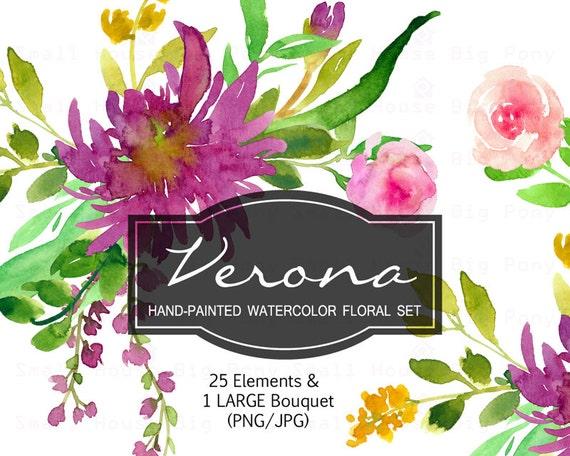 Digital Clipart- Watercolor Flower Clipart, floral Clip art, Floral Bouquet Clipart, wedding flowers clip art- Verona