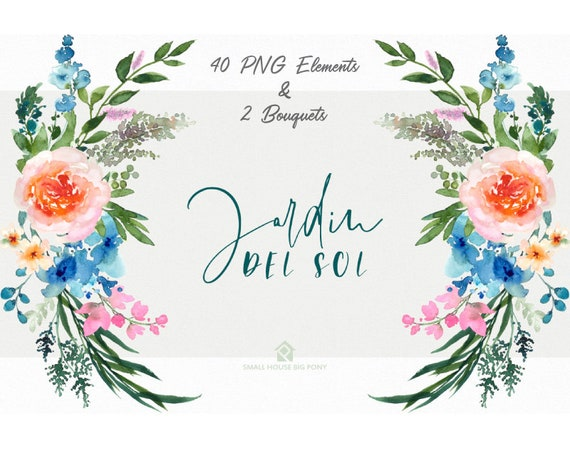 Digital Clipart- Watercolor Flower Clipart, peonies Clip art, Floral Bouquet Clipart, - Jardin Del Sol Elements & 2 Bouquets