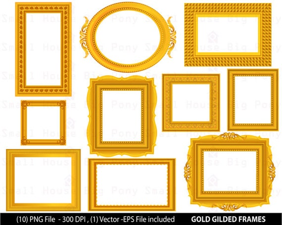 GOLD Digital Frame ClipArt Flourish Swirls, Gold Scroll Design ,Make Your Own Invitation Gold Scrapbook Supplies