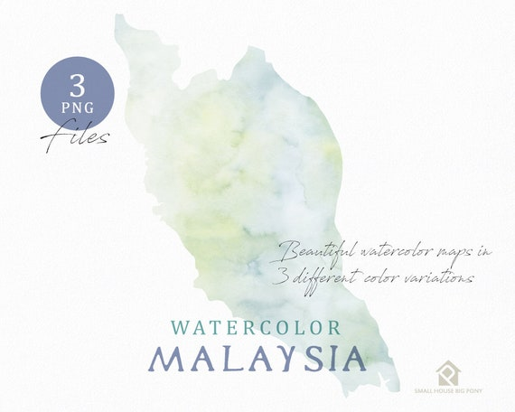 Malaysia Map, Watercolor Map, Instant Download, Digital Map, Map Clipart, Wall Art, Color Map Clip Art, Custom Map, Watercolor Map