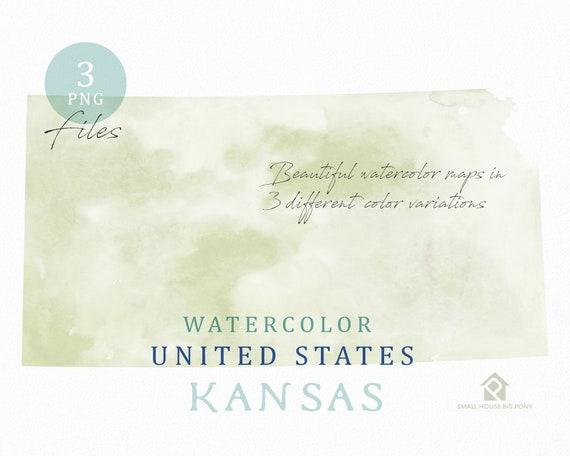 Kansas Map, Watercolor Map, Digital Map, Map Clipart, Wall Art, Color Map Clip Art, Custom Map, Watercolor Map
