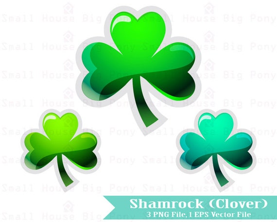 Shamrocks, Cute Digital Clipart, St. Patrick's Day Clipart, Shamrock Clipart, instant download, St. Patrick's decoration, clip art