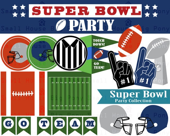 Super Bowl Clip art, Clipart Party Collection- Instant download digital clip art - 1 JPG and 17 PNG files included in Zip