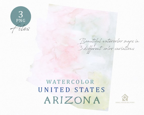 Arizona Map, Watercolor Map, Digital Map, Map Clipart, Wall Art, Color Map Clip Art, Custom Map, Watercolor Map