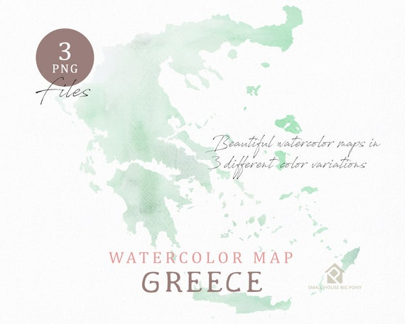 Greece map, Watercolor Map, Instant Download, Digital Map, Map Clipart, Wall Art, Color Map Clip Art, Custom Map, Watercolor Map