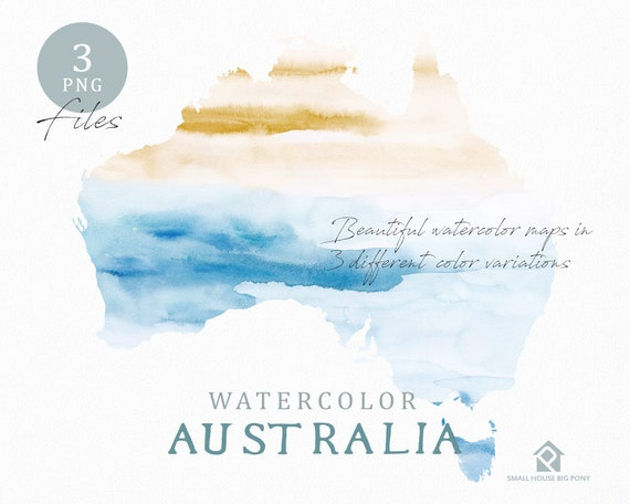 Australia Map, Watercolor World Map, Instant Download, Digital Map, Map Clipart, Wall Art, Color Map Clip Art, Custom Map, Watercolor Map