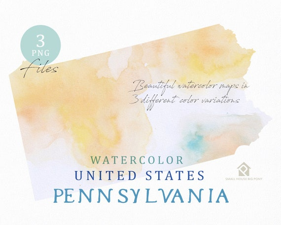 Pennsylvania Map, Watercolor Map, Digital Map, Map Clipart, Wall Art, Color Map Clip Art, Custom Map, Watercolor Map