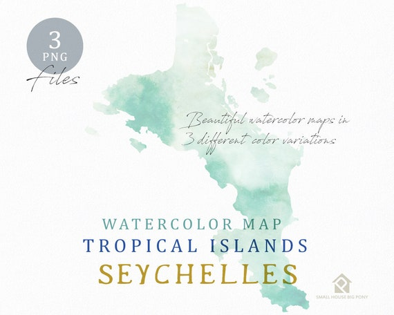 Seychelles Map, Watercolor Map, Instant Download, Digital Map, Map Clipart, Wall Art, Color Map Clip Art, Custom Map, Watercolor Map