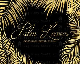 Gold Foil Leaves clipart, Palm Leaves clip art, Gold leaf, Digital clipart, leaves clip art, Digital PNG clip art, gold palm leaves set
