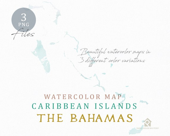 The Bahamas Map, Watercolor Map, Instant Download, Digital Map, Map Clipart, Wall Art, Color Map Clip Art, Custom Map, Watercolor Map