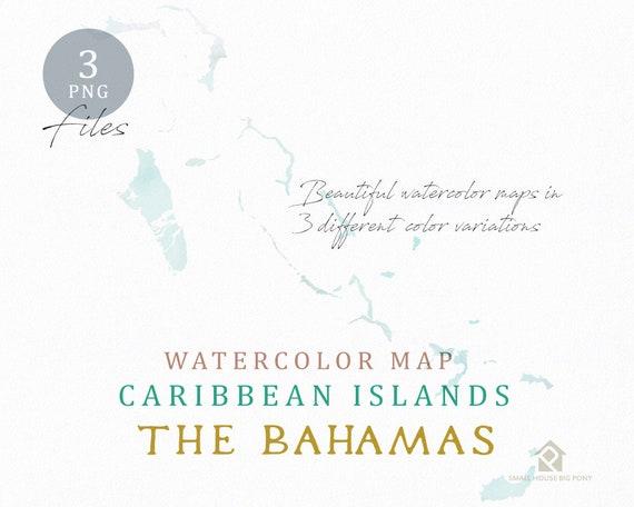 The Bahamas Map, Watercolor Map, Instant Download, Digital Map, Map Clipart, Wall Art, Color Map Clip Art, Custom Map, Watercolor Map