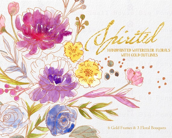 Digital Clipart- Watercolor Flower Clipart, flower Clip art,  Bouquet Clipart, wedding flowers clip art- Spirited (Bouquets&Gold Frames)
