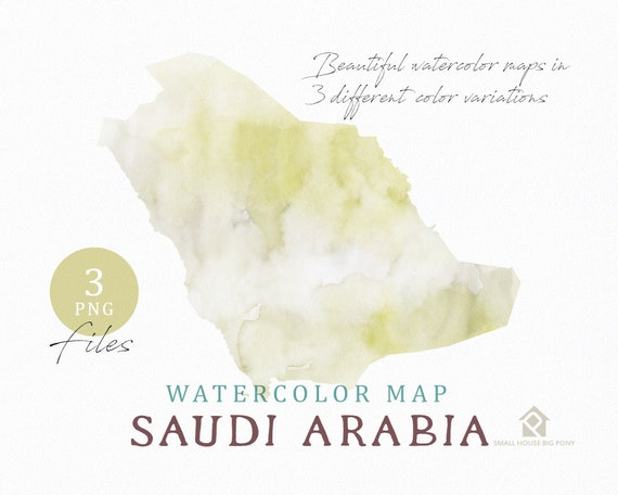 Saudi Arabia Map, Watercolor Map, Instant Download, Digital Map, Map Clipart, Wall Art, Color Map Clip Art, Custom Map, Watercolor Map