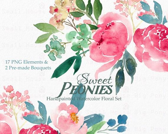 Clipart Aquarelle Fleur Des Cliparts Numerique Pivoines Clip Art