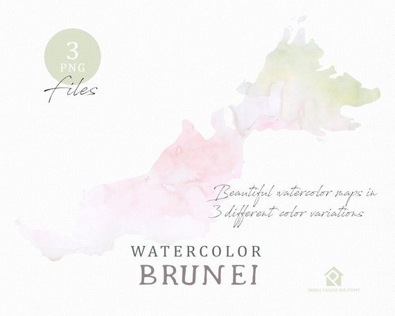 Brunei Map, Watercolor Map, Instant Download, Digital Map, Map Clipart, Wall Art, Color Map Clip Art, Custom Map, Watercolor Map