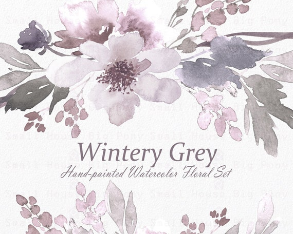 Watercolour Floral Clipart. Handmade, watercolour clipart, wedding diy elements, flowers -Wintery Grey