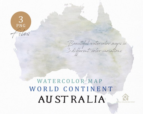 Australia - Continent Map, Watercolor Map, Digital Map, Map Clipart, Wall Art, Color Map Clip Art, Custom Map, Watercolor Map